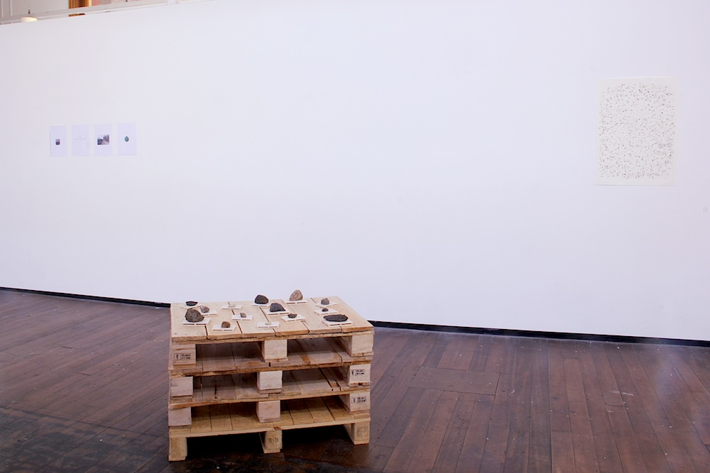 Rocks, pallettes, balsa wood installation view